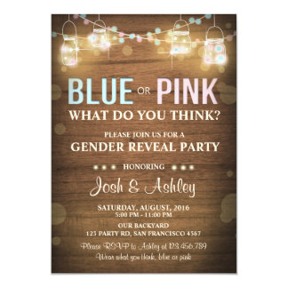 Gender reveal party invitations zazzle gender reveal party invitation rustic wood shower stopboris Images