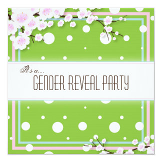 "Gender Reveal Party Invitation - Team Green - Dots 5.25"" Square Invitation Card"
