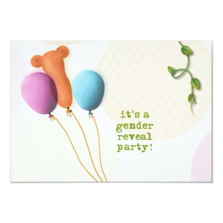 "Gender Reveal Party Invitations - Balloons - 3.5x5 3.5"" X 5"" Invitation Card"