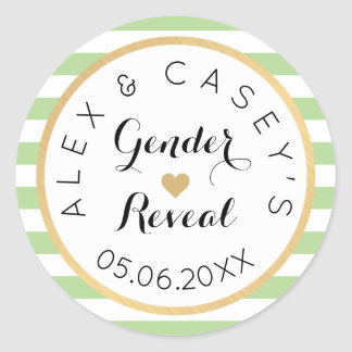 Gender Reveal Party Stickers - Classic Stripes