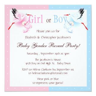 Gender Reveal Party Stork Delivering Baby Invite