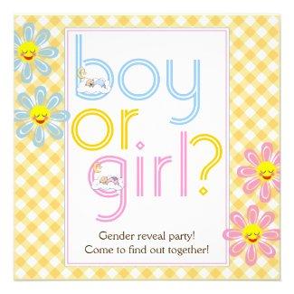 Gender reveal party text design & sleeping babies