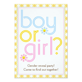 Gender reveal party text design with daisy flowers 5x7 paper invitation card