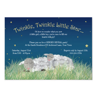 Gender Reveal Party Twinkle Little Star Cute Sheep Card