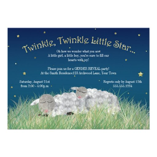 Gender Reveal Party Twinkle Little Star Cute Sheep Custom Announcement
