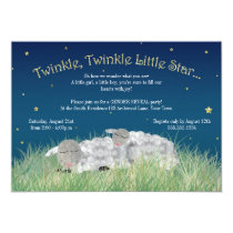 Gender Reveal Party Twinkle Little Star Cute Sheep Invitation