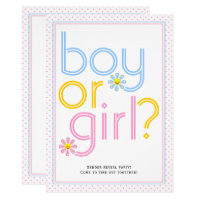 Gender reveal party typography with daisy flowers card