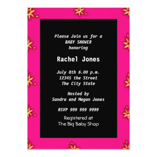 Gender Reveal Pink Black White Baby Shower Party Card