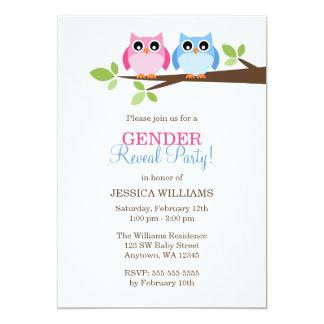 Gender Reveal Pink Blue Owls Branch Invitations