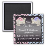 Gender Reveal Save The Date Bunnies in Cribs 2 Inch Square Magnet