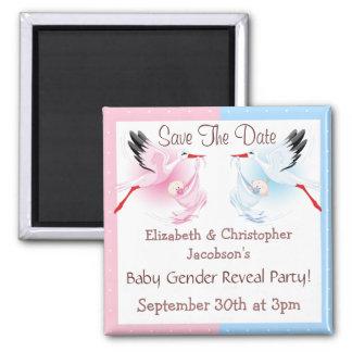 Gender Reveal Save The Date Stork Delivering Baby Magnet