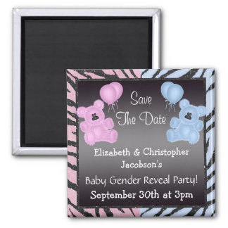 Gender Reveal Save The Date Teddys & Animal Print Magnet