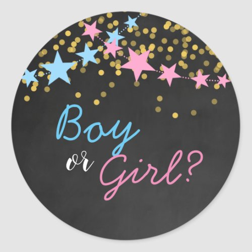 Gender Reveal Wonder What you Are, Boy or Girl Classic Round Sticker