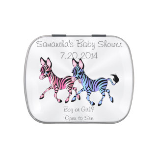 Gender Reveal Zebra Baby Shower Party Favor Candy Tins