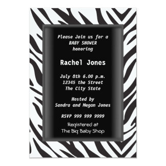 Gender Reveal Zebra Black White Baby Shower Party 5x7 Paper Invitation Card