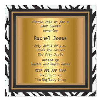 Gender Reveal Zebra Gold Baby Shower Party 5.25x5.25 Square Paper Invitation Card