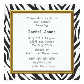 Gender Reveal Zebra White Baby Shower Party 5.25x5.25 Square Paper Invitation Card