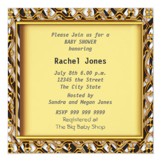 Gender Reveal Zebra Yellow Baby Shower Party 5.25x5.25 Square Paper Invitation Card