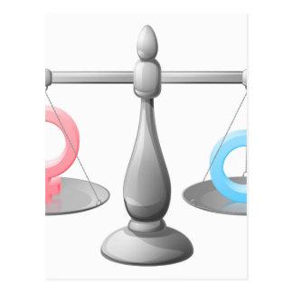 Gender symbol scales post cards