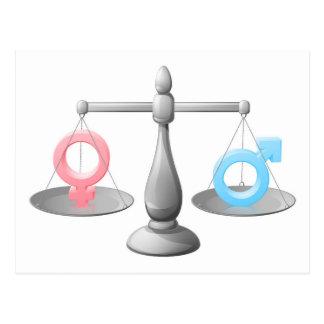 Gender symbol scales postcards