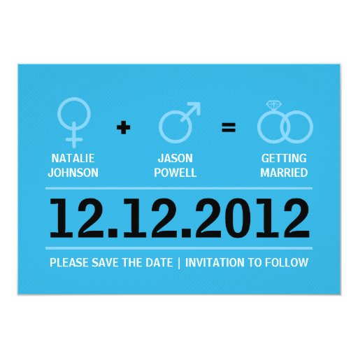 "Gender Symbols Save the Date Announcement #2 5"" X 7"" Invitation Card"