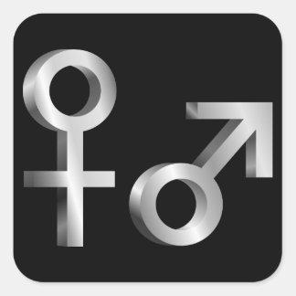 Gender symbols. square sticker