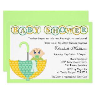 Unknown gender baby shower invitations zazzle gender unknown umbrella baby shower invitation filmwisefo