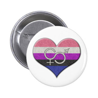 Genderfluid Pride Heart Pinback Buttons