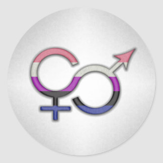 Genderfluid Symbol Classic Round Sticker