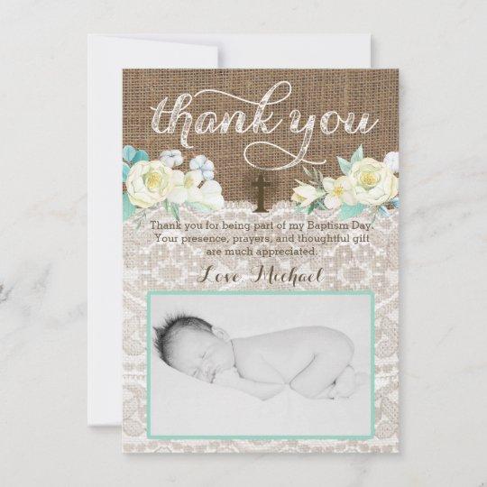 Genderless Baptism Thank You Card Boy Girl Twins Zazzle Com