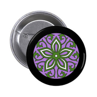 Genderqueer Flag Colors Floral Mandala LGBT Button