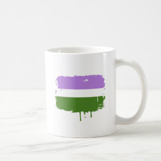 GENDERQUEER FLAG DRIPPING CLASSIC WHITE COFFEE MUG