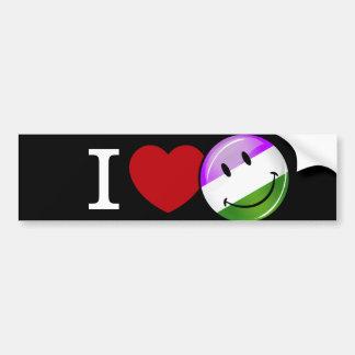Genderqueer Flag Love Car Bumper Sticker