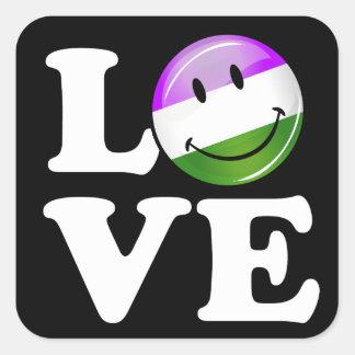 Genderqueer Flag Love Square Sticker