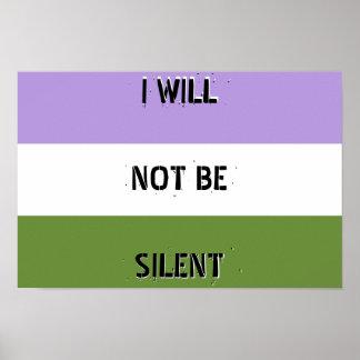 """Genderqueer """"no seré"""" poster silencioso póster"""