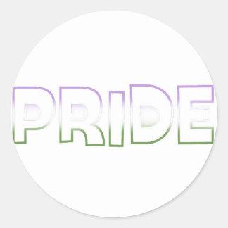 Genderqueer Pride Classic Round Sticker
