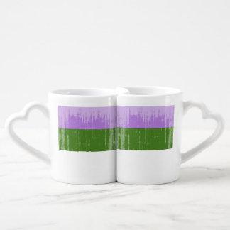 GENDERQUEER PRIDE DISTRESSED DESIGN - 2014 PRIDE.p Couples' Coffee Mug Set