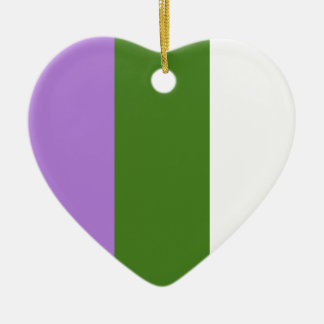 Genderqueer pride flag Double-Sided heart ceramic christmas ornament