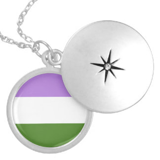 Genderqueer Pride Flag Silver Plated Necklace