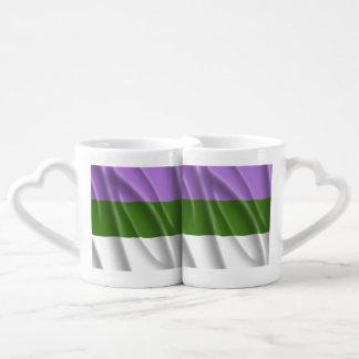 GENDERQUEER PRIDE FLAG WAVY DESIGN - 2014 PRIDE.pn Couples' Coffee Mug Set