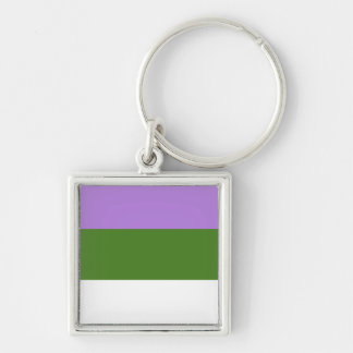 GENDERQUEER PRIDE Silver-Colored SQUARE KEYCHAIN