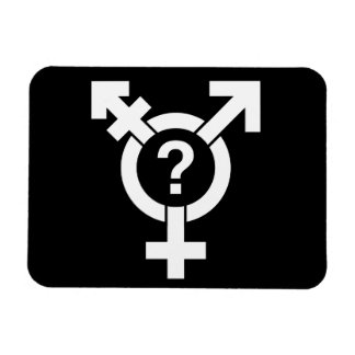 GENDERQUEER SYMBOL WHITE FLEXIBLE MAGNETS