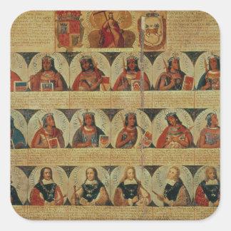 Genealogía de los reglas del inca y de su español pegatina cuadrada