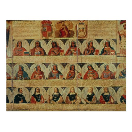 Genealogía de los reglas del inca y de su español postales