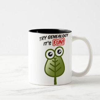 Genealogía del intento taza de café de dos colores