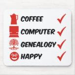 Genealogía del ordenador del café feliz alfombrilla de ratón