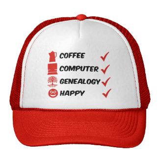 Genealogía del ordenador del café feliz gorras de camionero