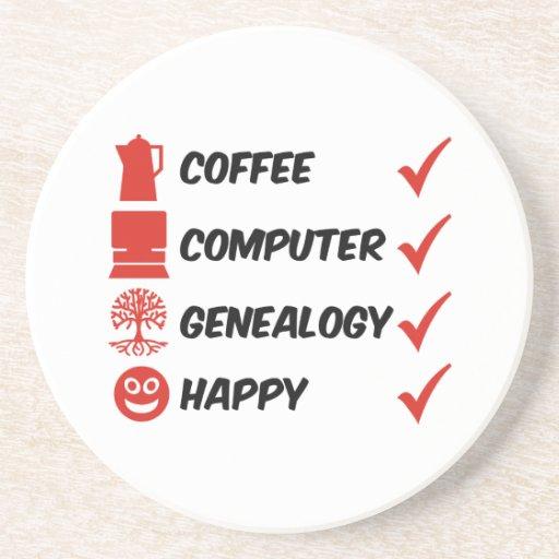 Genealogía del ordenador del café feliz posavasos cerveza