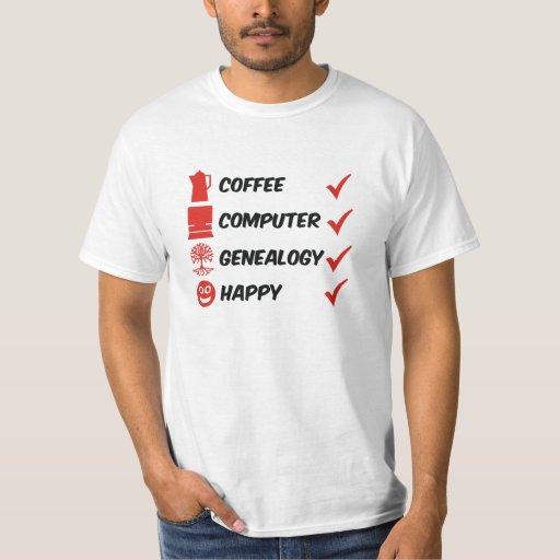 Genealogía del ordenador del café feliz remera