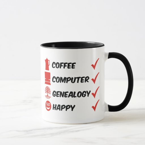 Genealogía del ordenador del café feliz taza